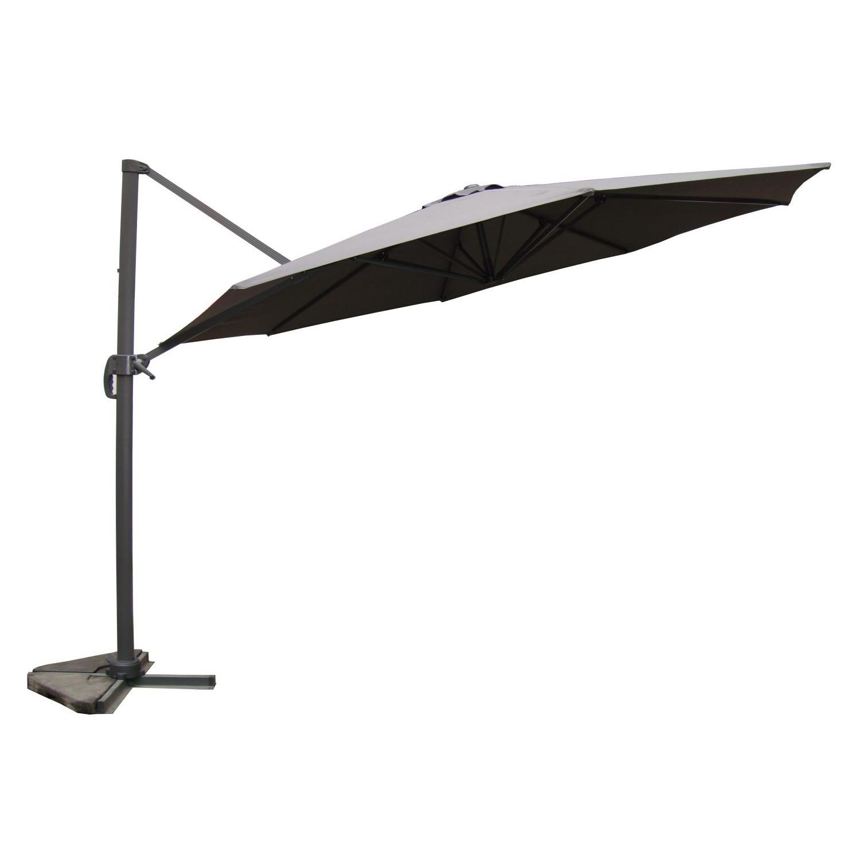 Parasol déporté et rotatif D 3,5 m gris