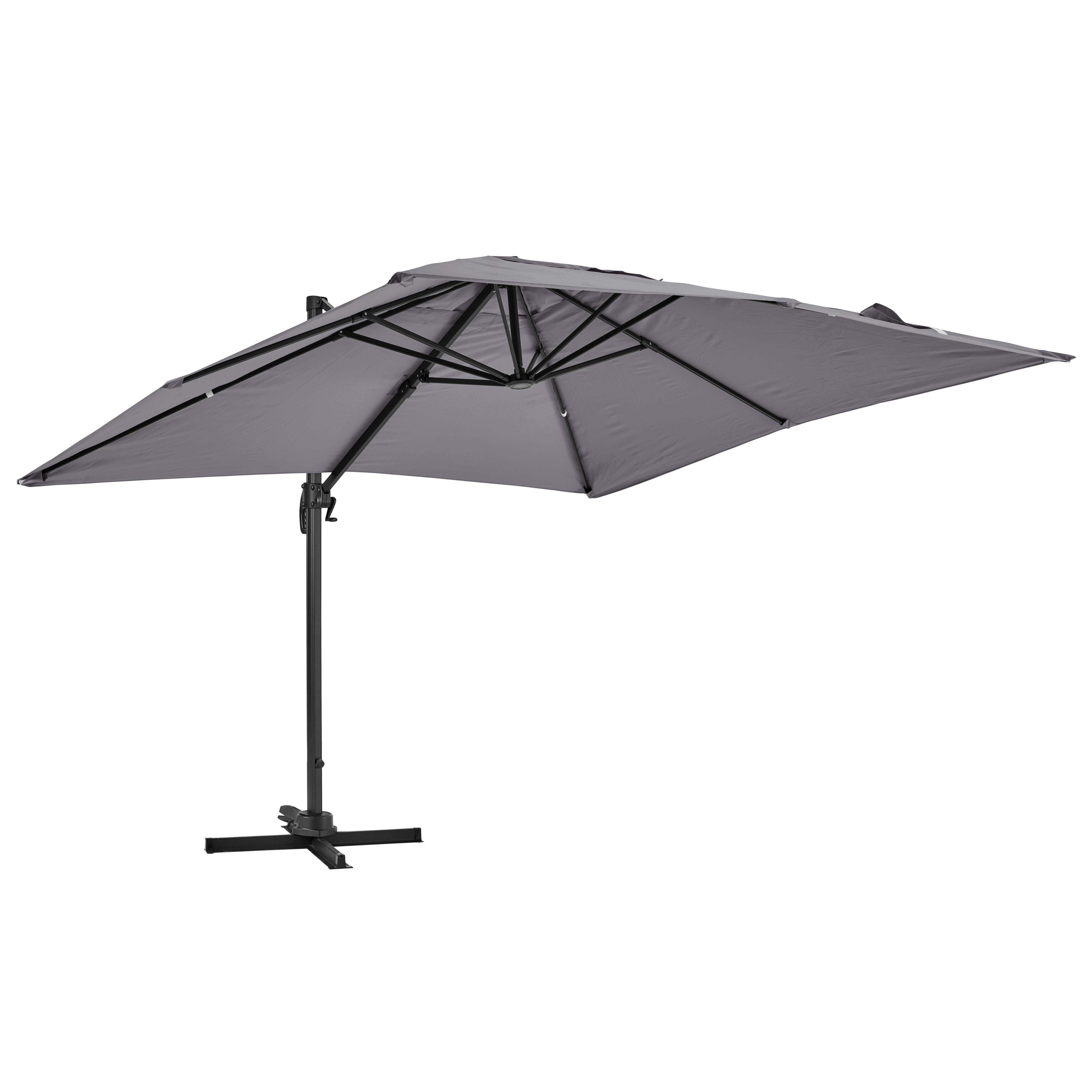 Parasol déporté rotatif carré 3x3m en aluminium gris