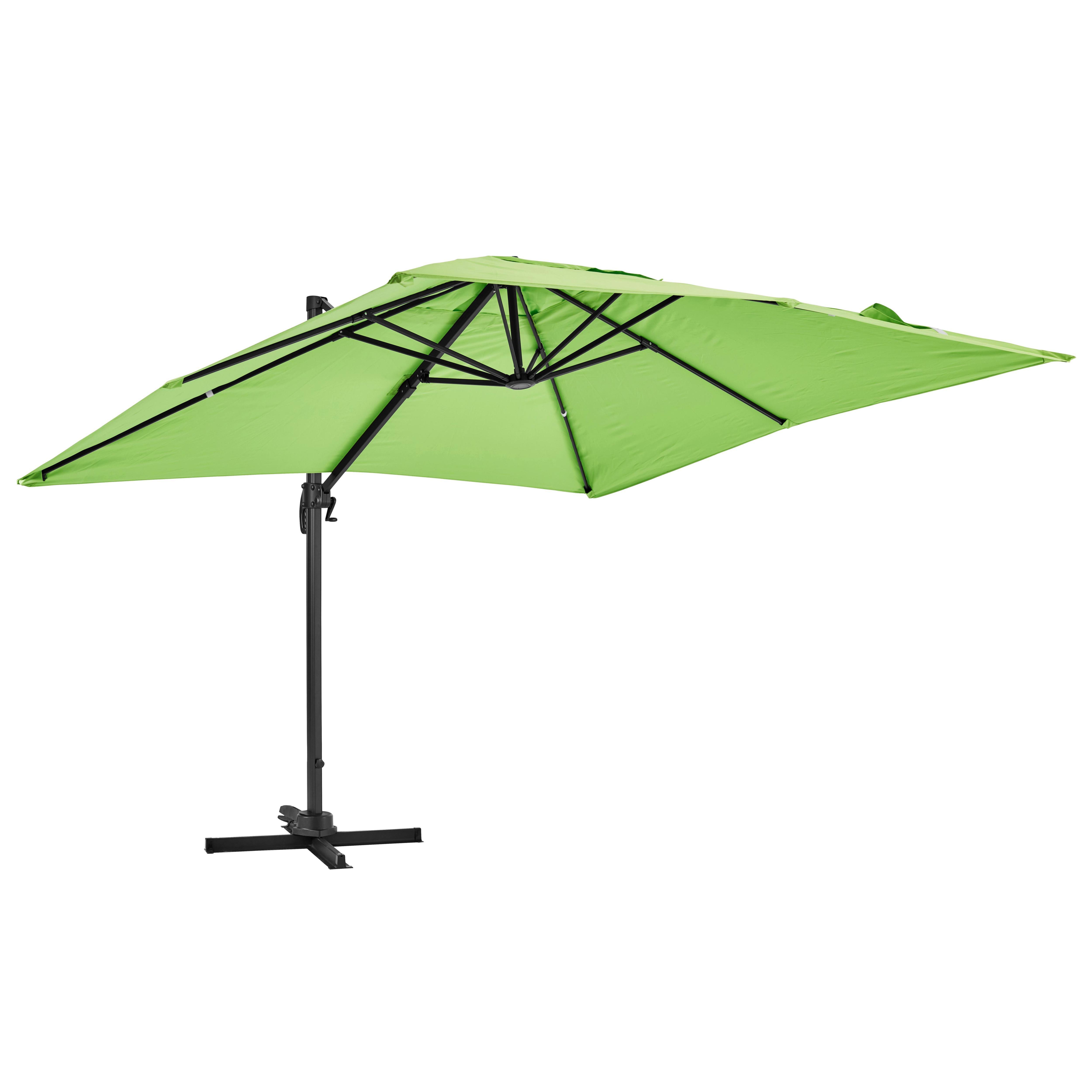 Parasol déporté rotatif carré 3x3m en aluminium vert