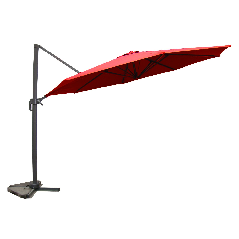 Parasol déporté et rotatif D 3,5 m terracotta