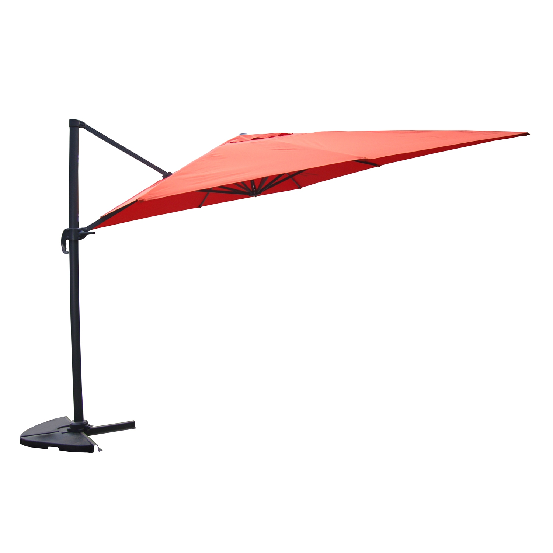 Parasol déporté et rotatif 3 x 3m terracotta