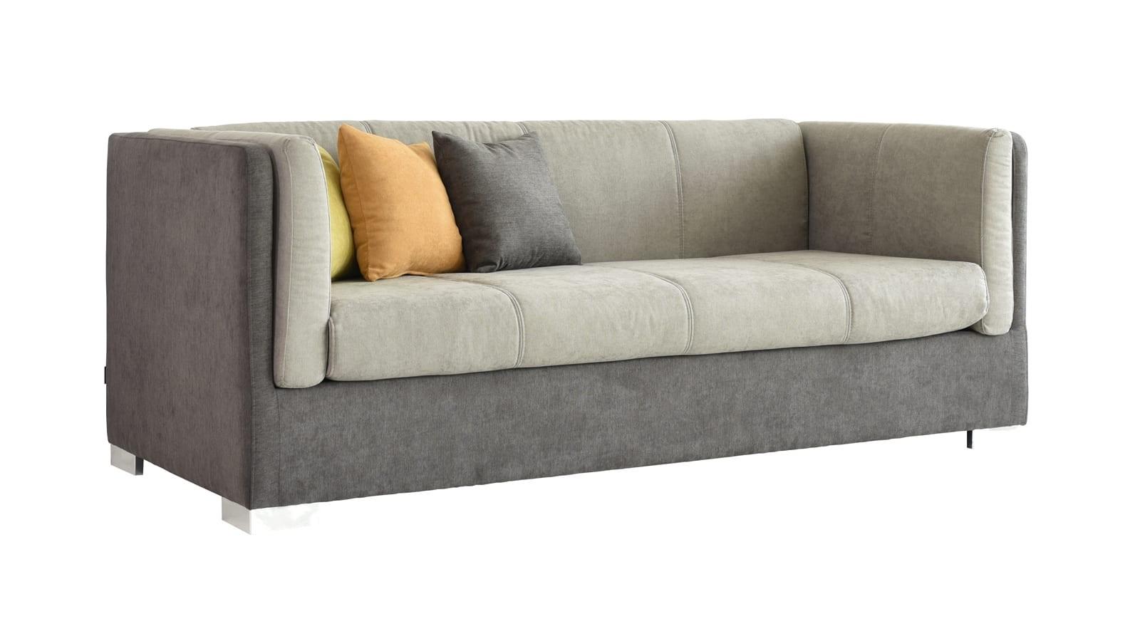 Canapé 3 places style retro en tissu taupe et beige