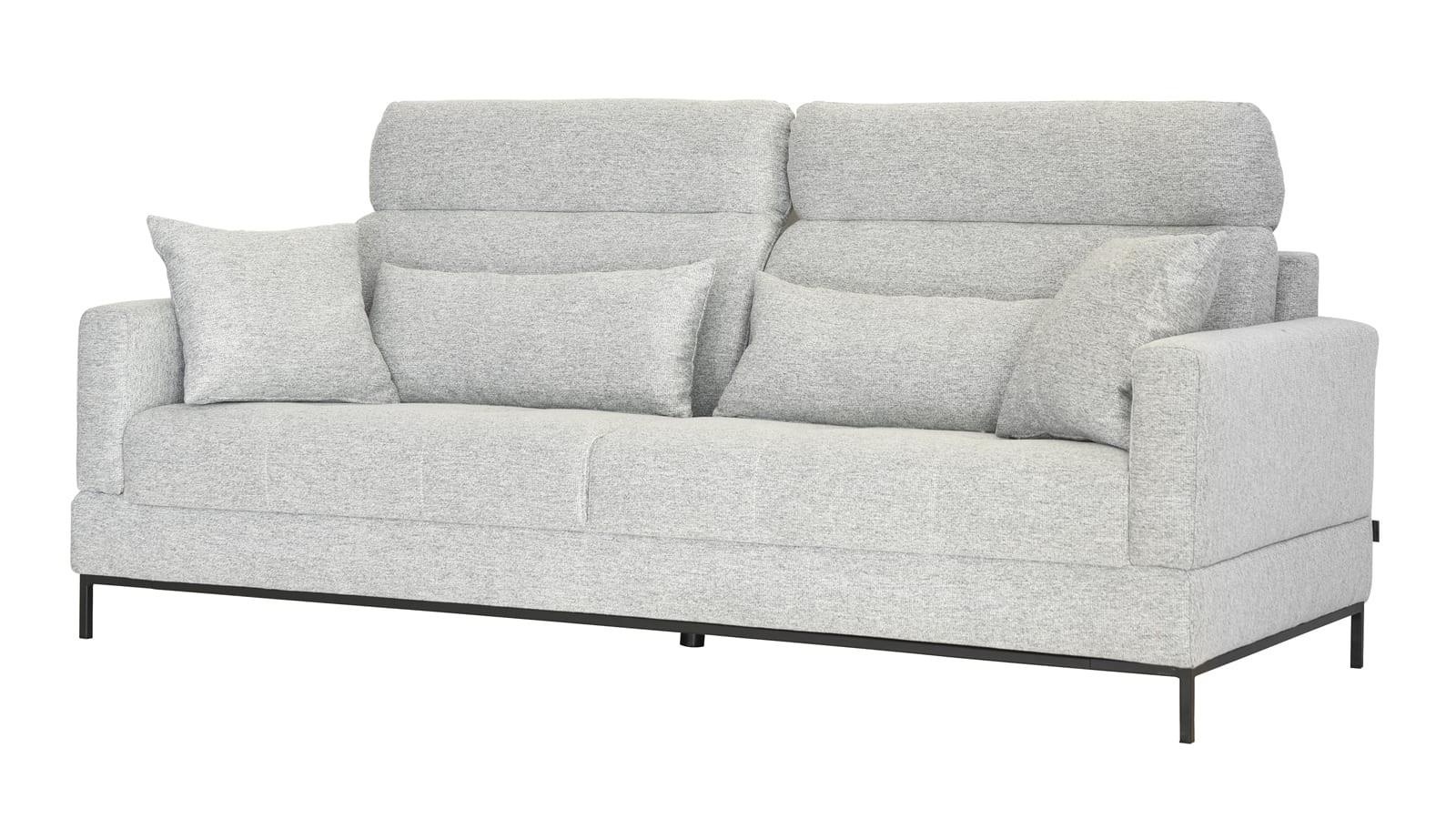 Canapé 3 places avec têtières en tissu gris clair