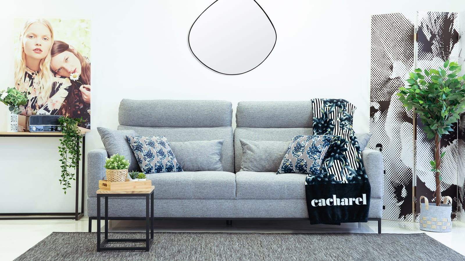 Canapé 3 places avec têtières en tissu gris anthracite