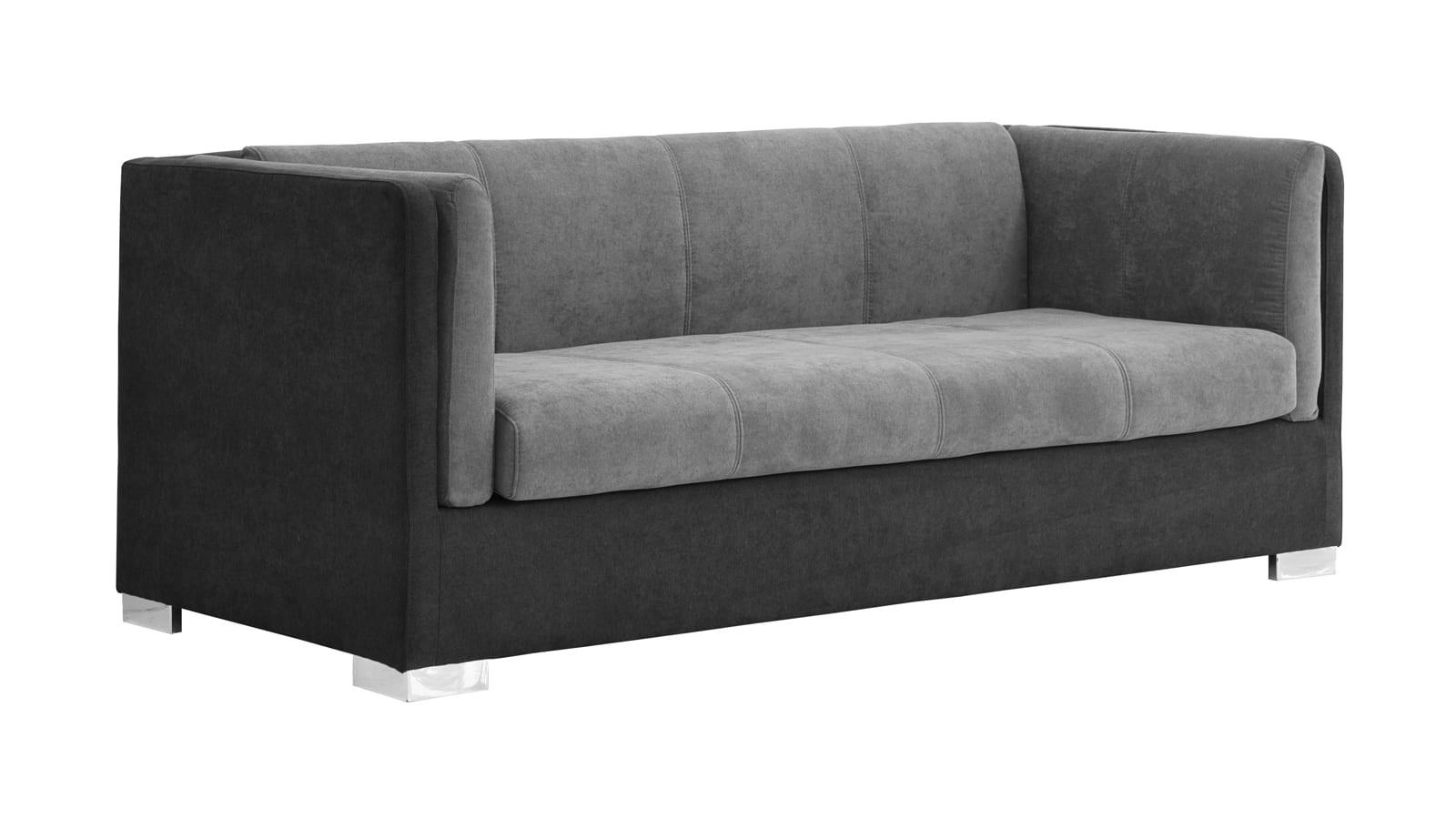 Canapé 3 places style retro en velours bicolore gris foncé
