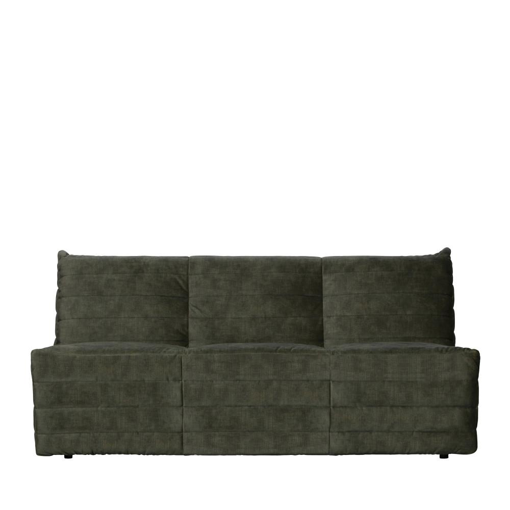 Canapé 3 places en velours vert kaki