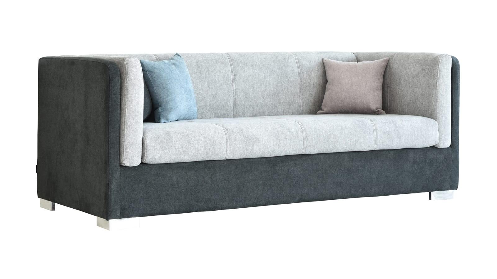 Canapé 3 places style retro en tissu bicolore gris anthracite