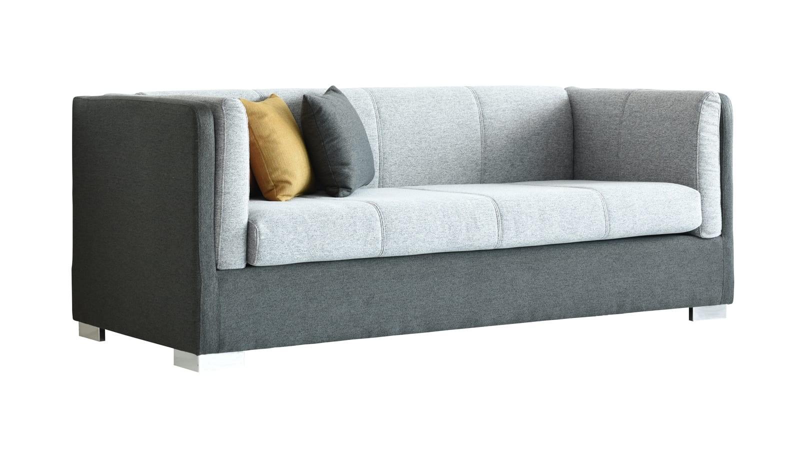 Canapé 3 places style retro en tissu bicolore gris