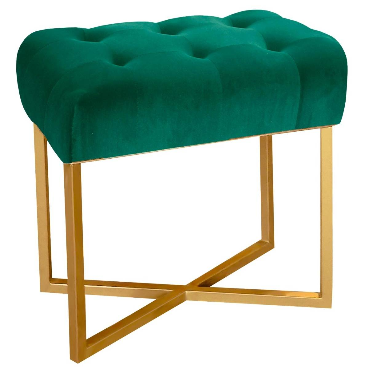 Tabouret pouf rectangle  velours vert pied or