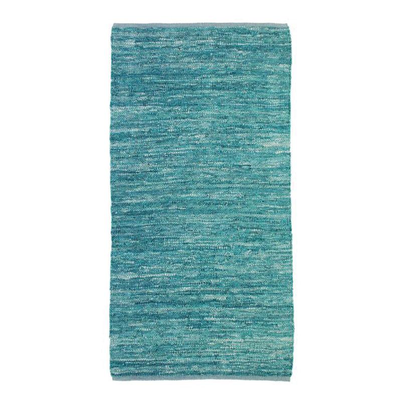 Tapis en cuir tressé bleu clair 60x120