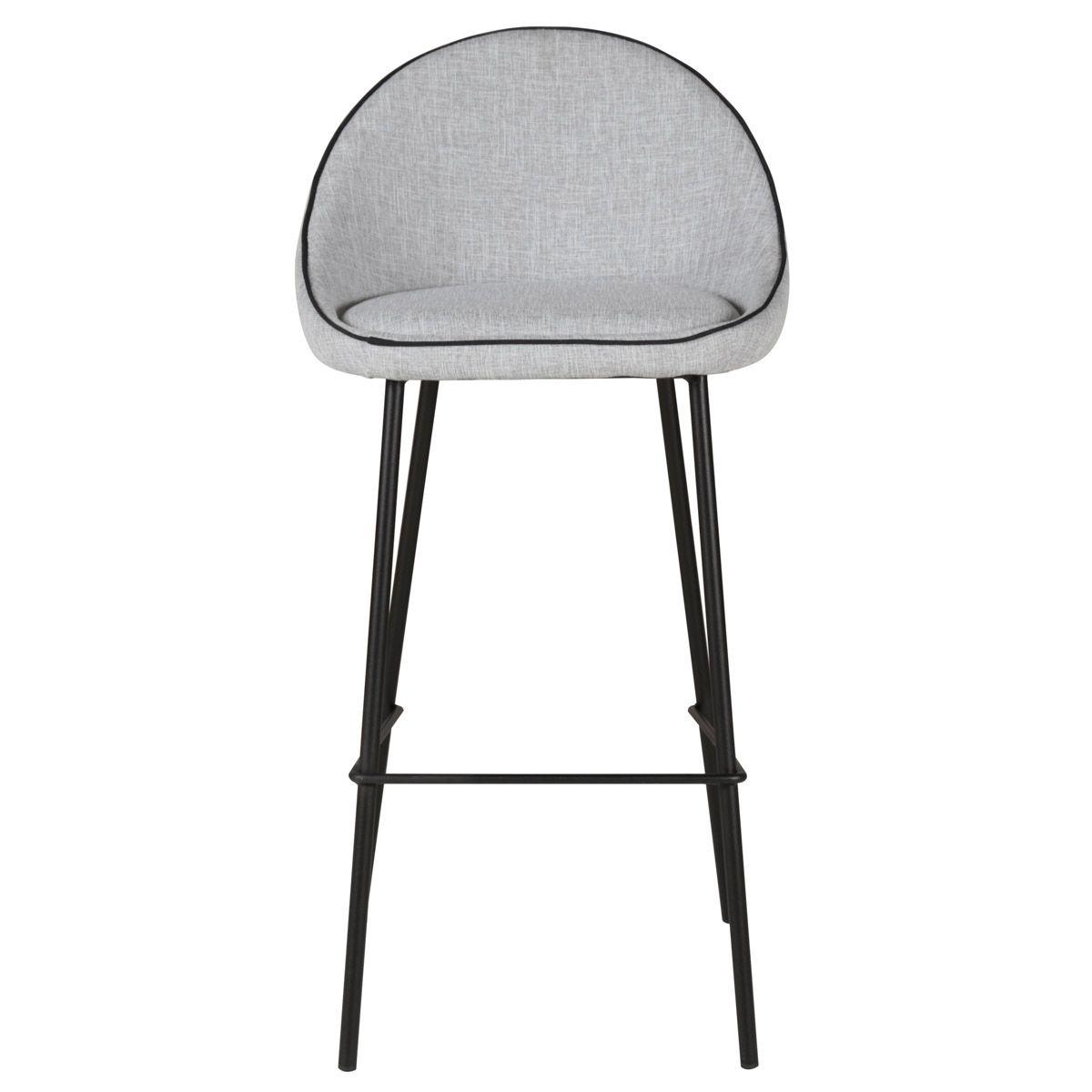 Chaise de bar tissu gris clair et pieds métal Maya