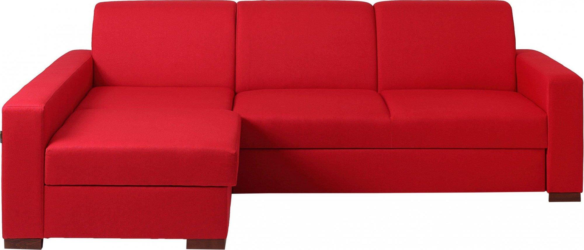 Canapé-lit d'angle gauche 3 places tissu rouge h40cm