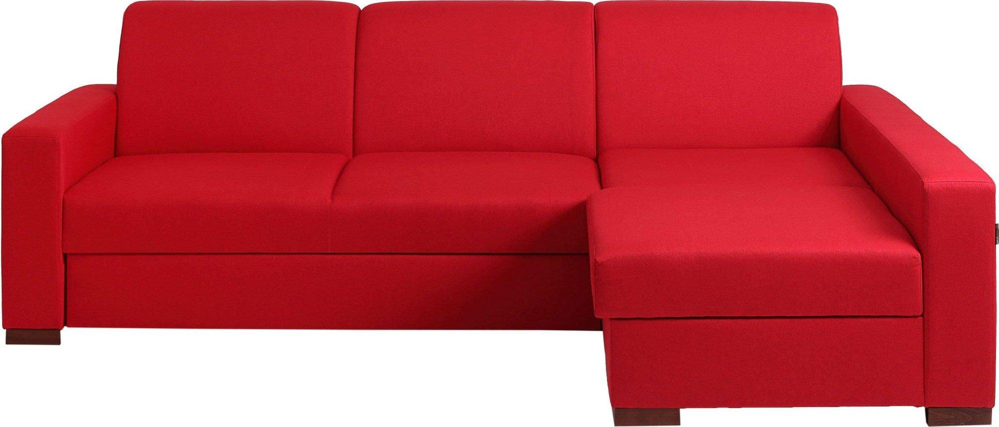 Canapé-lit d'angle droit 3 places tissu rouge h40cm