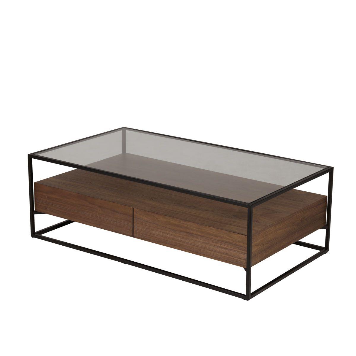 Table basse en métal verre et plaquage noyer 2 tiroirs