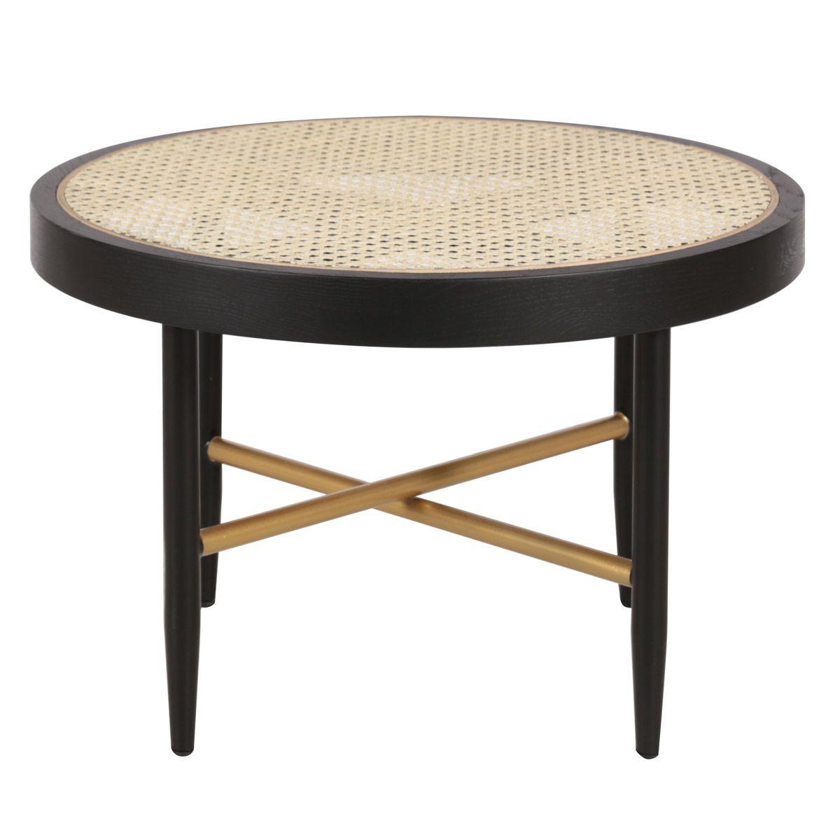 Table basse en cannage naturel et chêne noir ronde D 60 cm