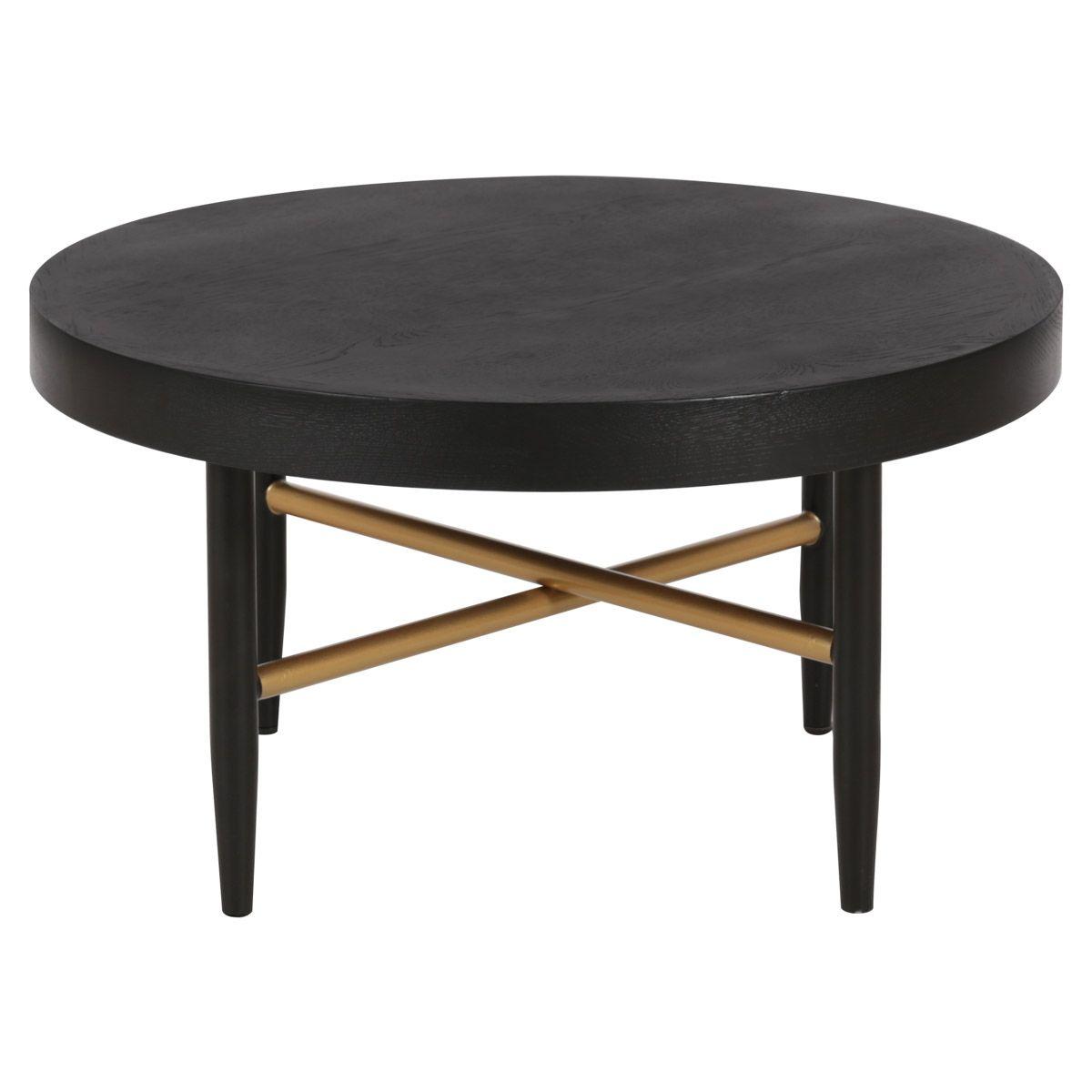 Table basse en chêne et métal noir et doré D 60 cm