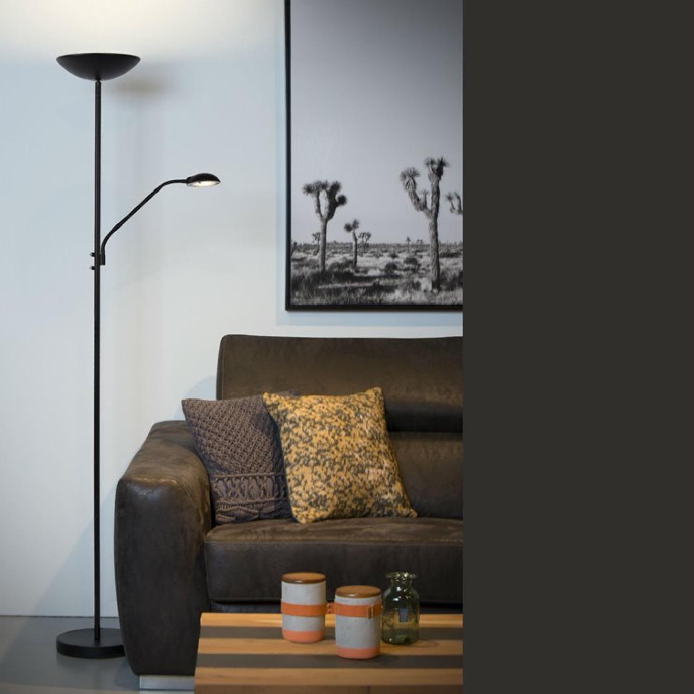 Lampadaire LED avec liseuse métal noir H180cm