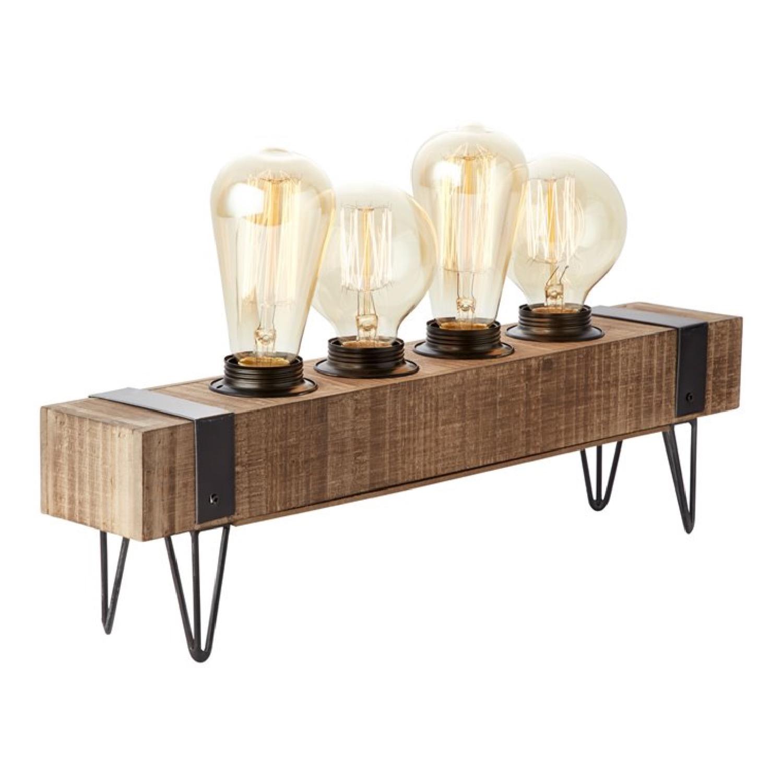 Lampe à poser 4 lumières métal et bois L46cm