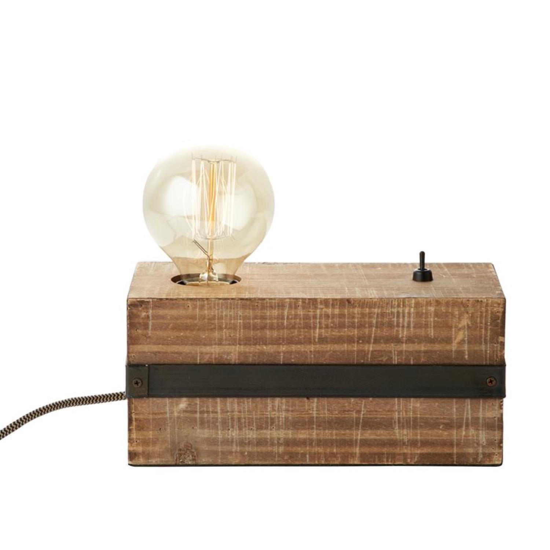 Lampe à poser métal et bois avec interrupteur L22cm