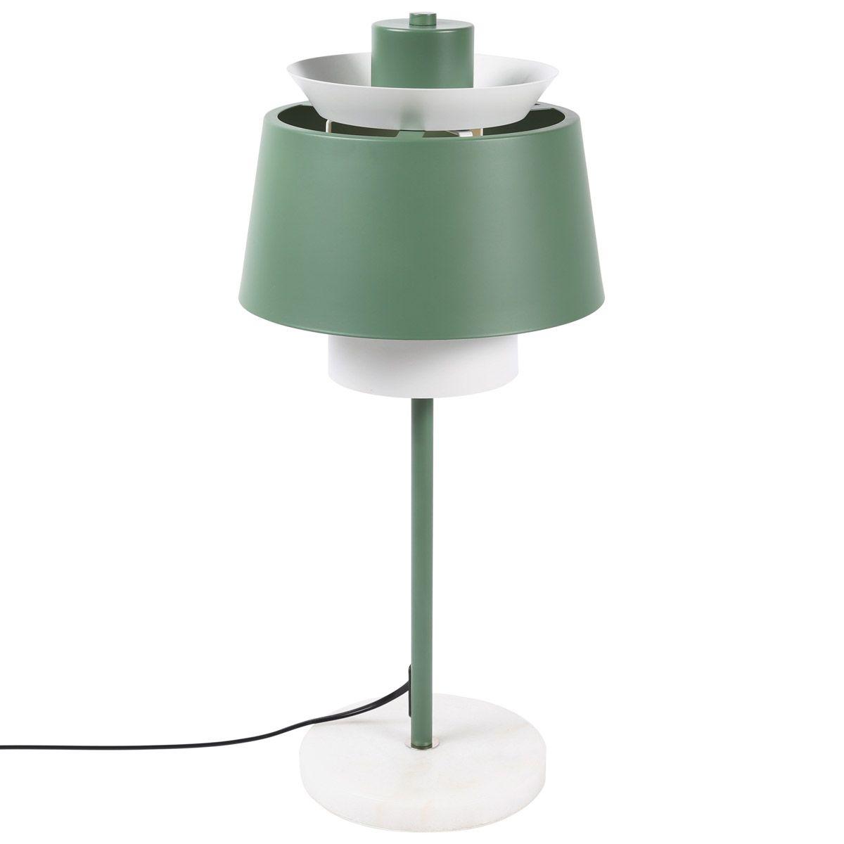 Lampe de table en fer et socle en marbre  vert de gris