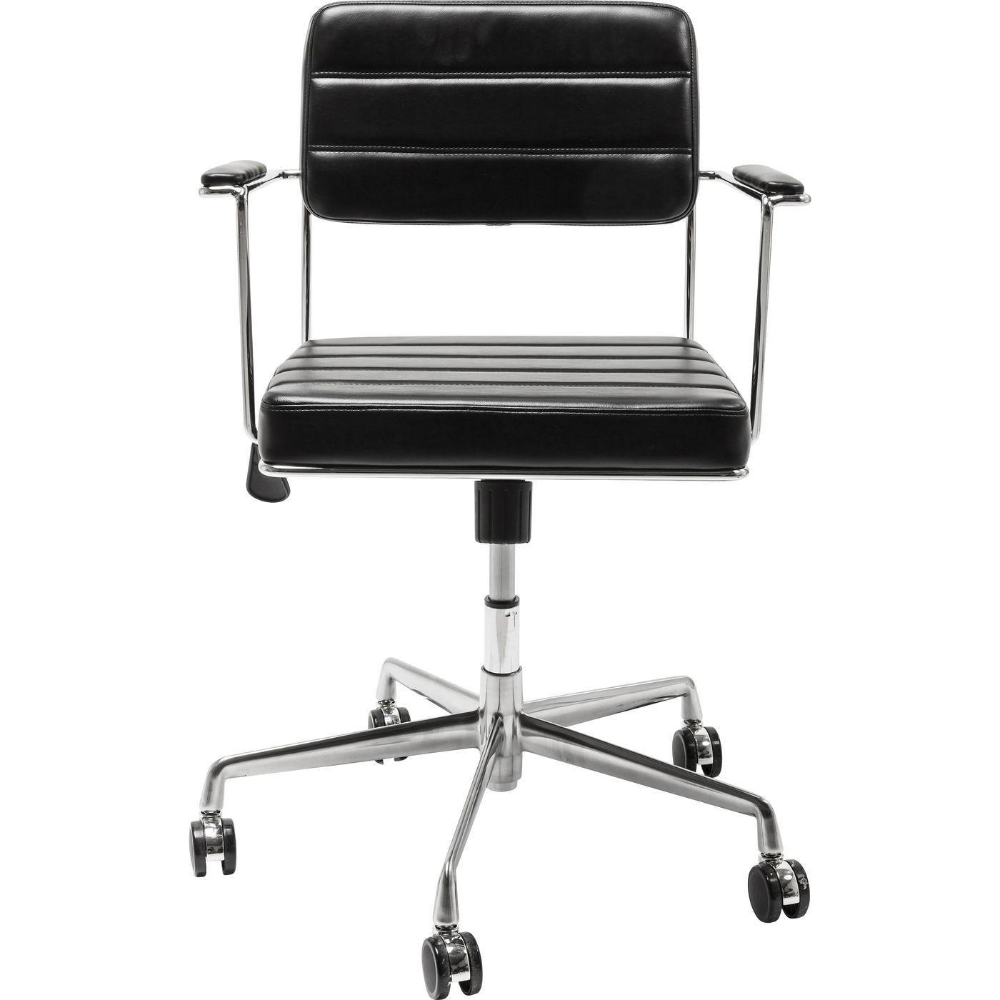 Chaise de bureau réglable à roulettes noire et acier chromé