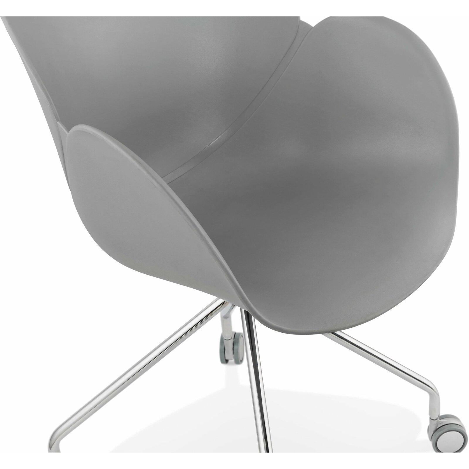 Fauteuil de bureau sur roulettes couleur gris pieds chromé