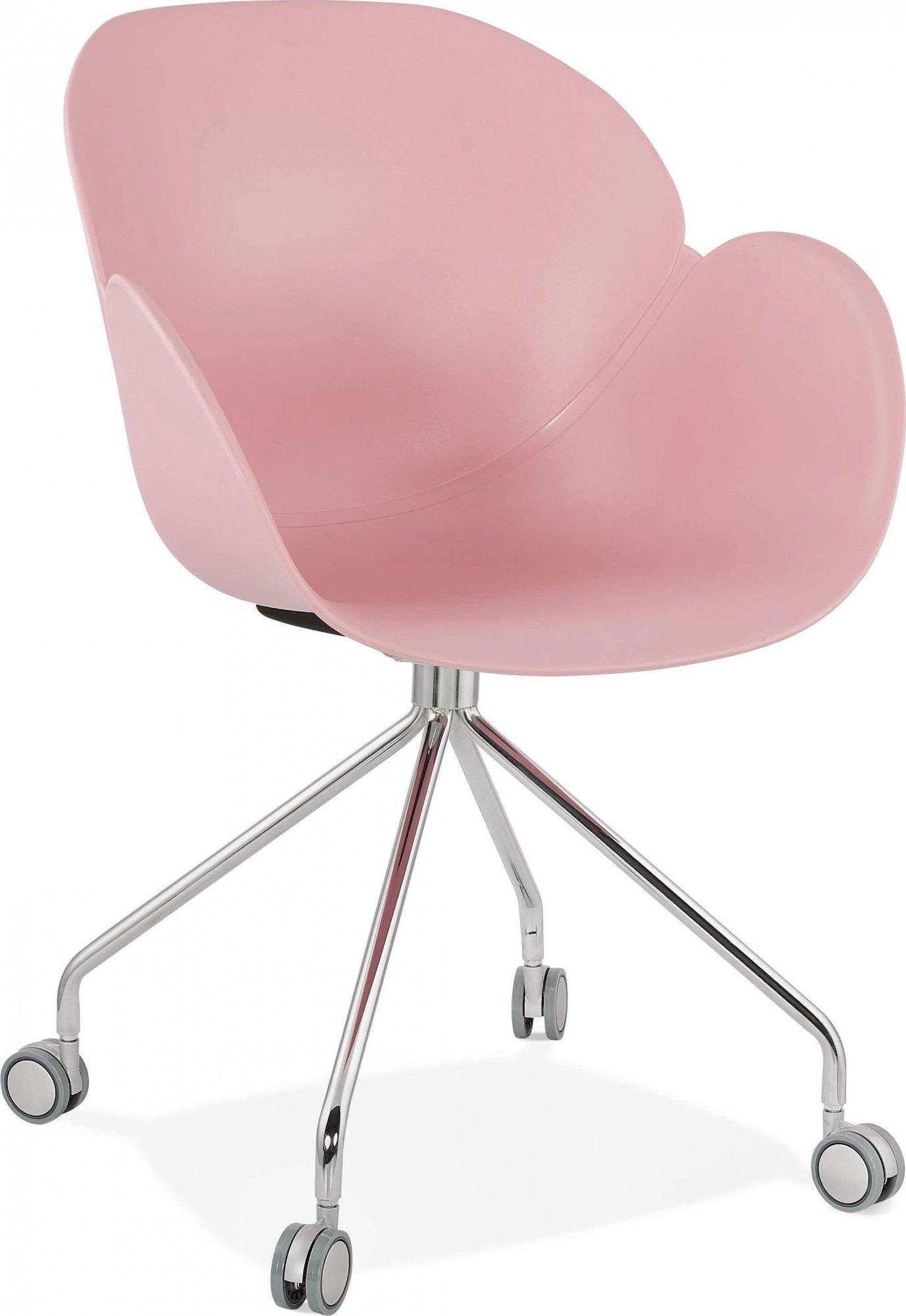 Fauteuil de bureau sur roulettes couleur rose pieds chromé