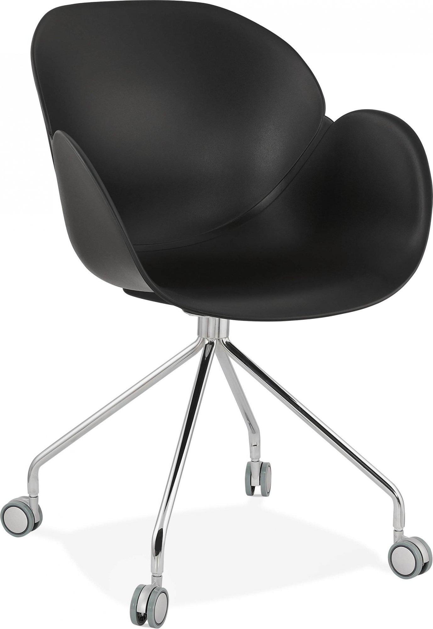 Fauteuil de bureau sur roulettes couleur noir pieds chromé