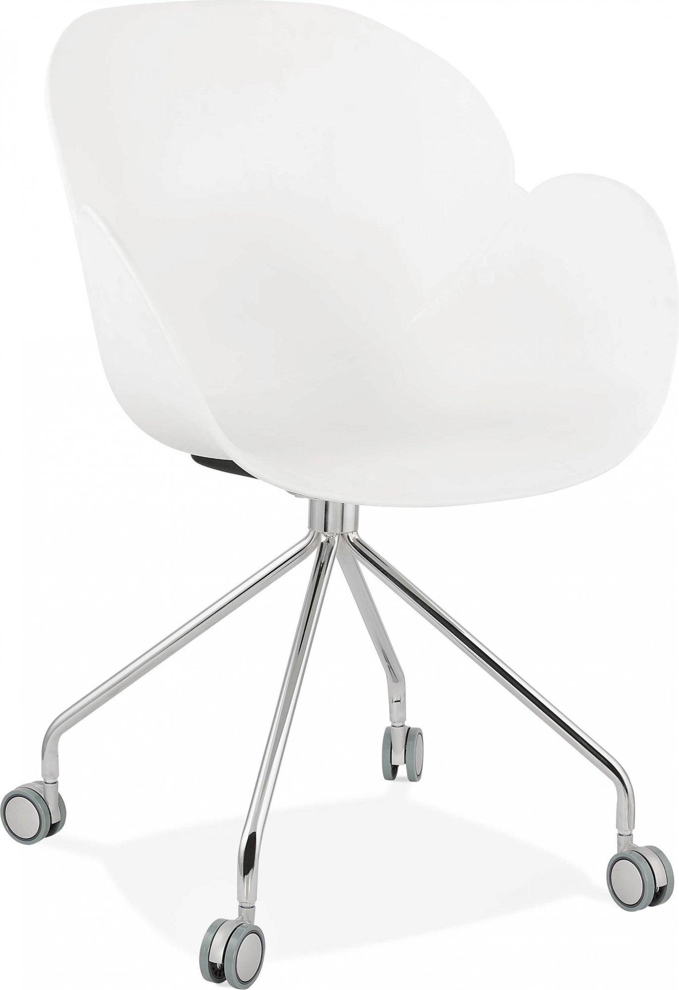 Fauteuil de bureau sur roulettes couleur blanc pieds chromé