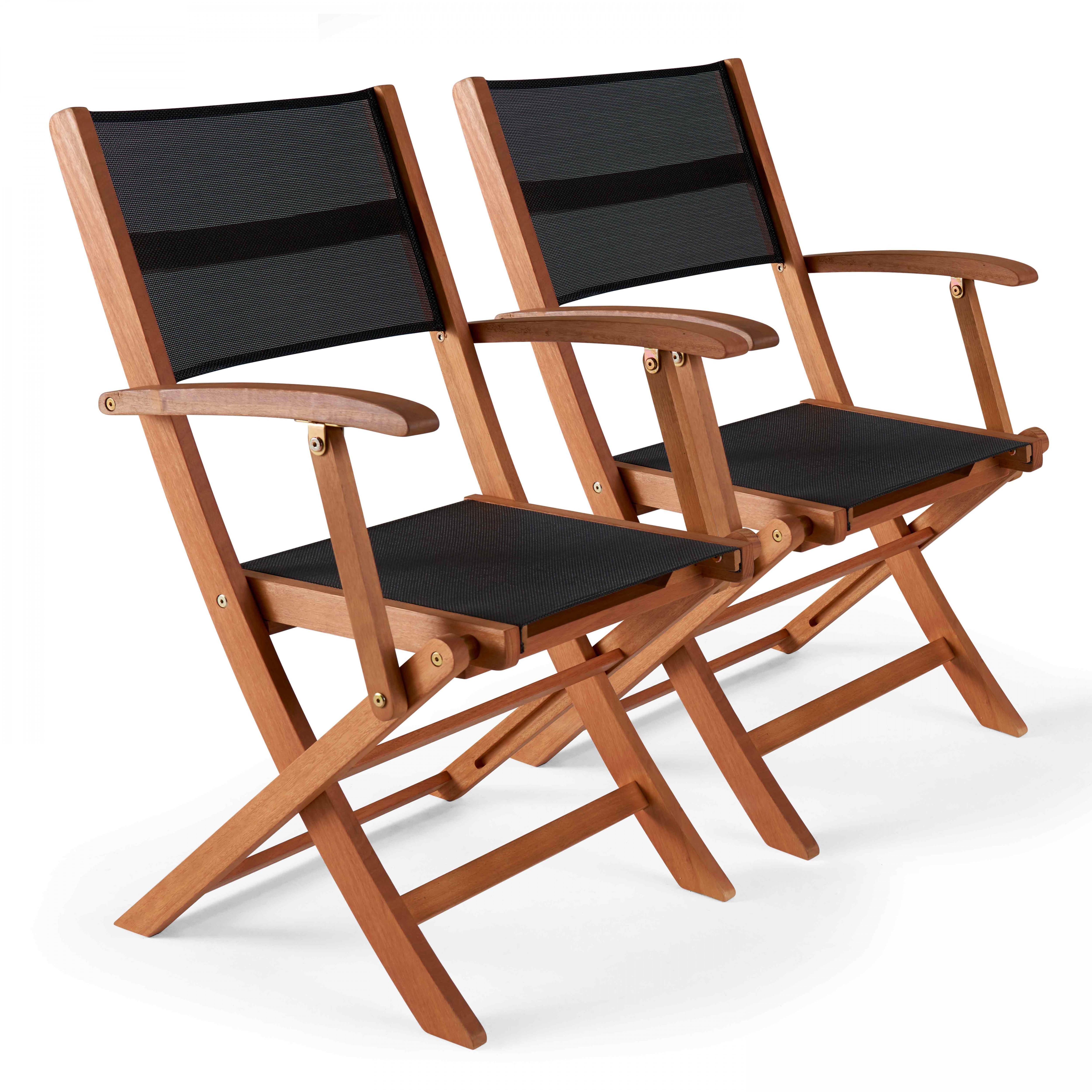Lot de 2 fauteuils pliants de jardin en bois noir