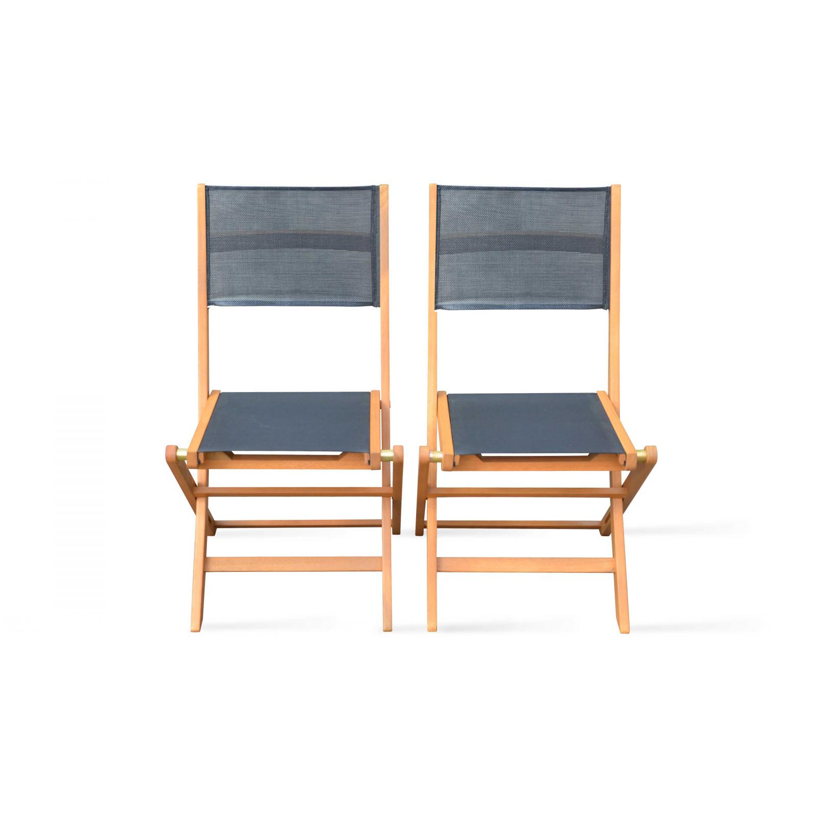 Lot de 2 chaises pliantes de jardin en bois noir