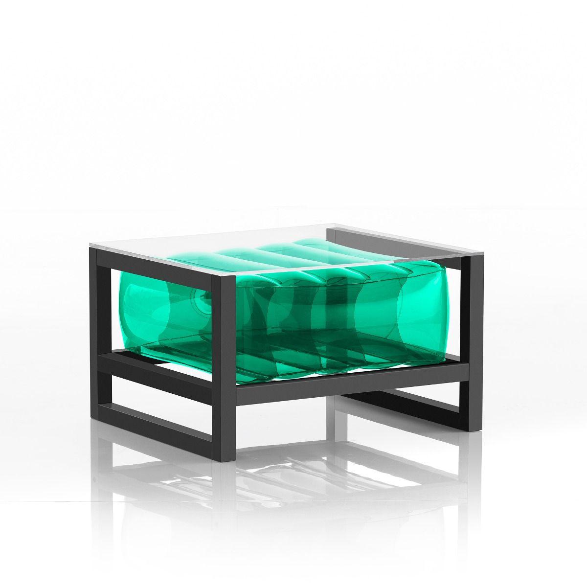 Table basse pvc verte cadre en aluminium