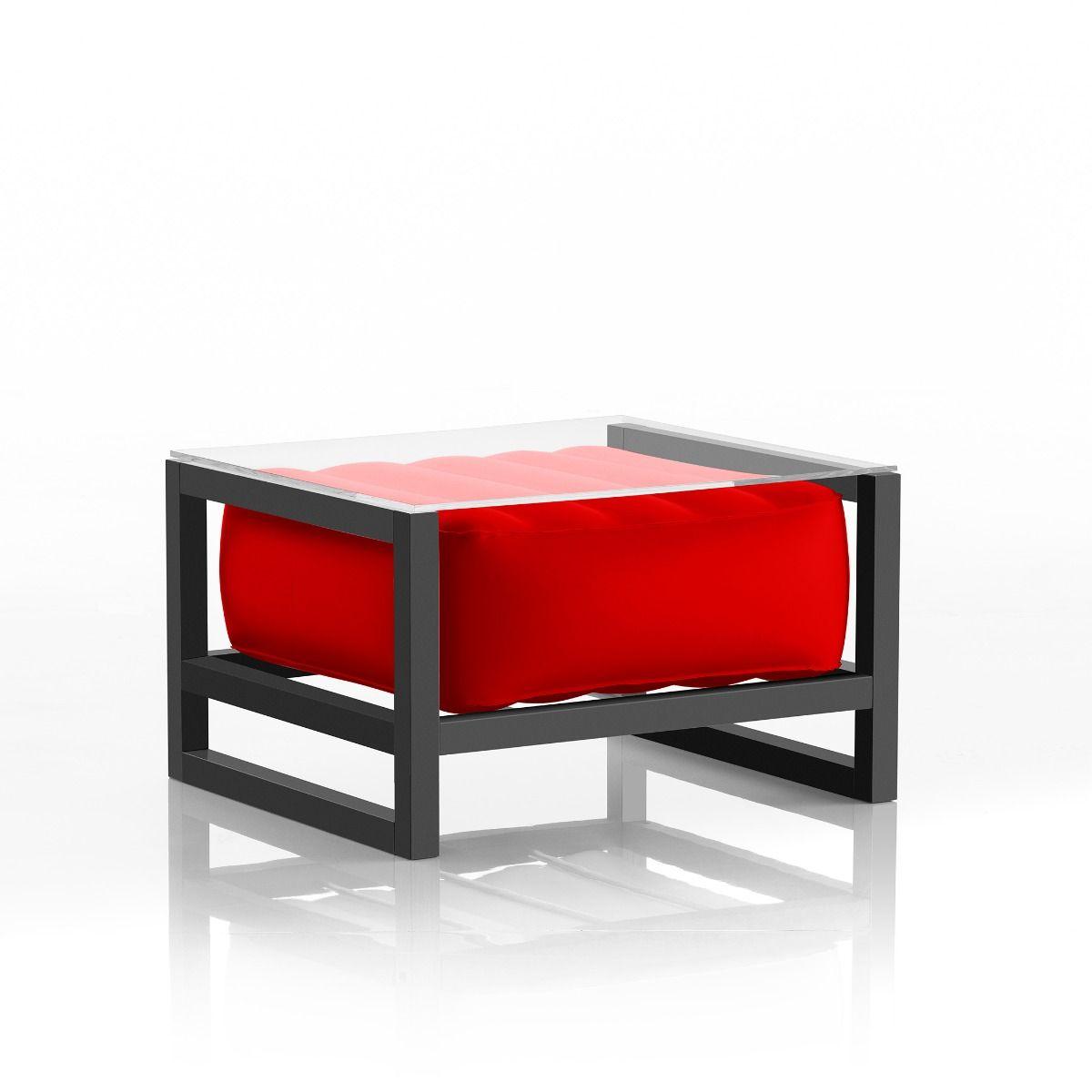 Table basse pvc rouge cadre en aluminium