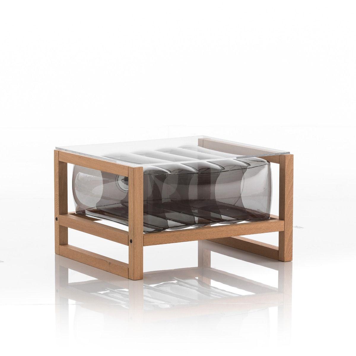 Table basse pvc noire fumée cadre en bois