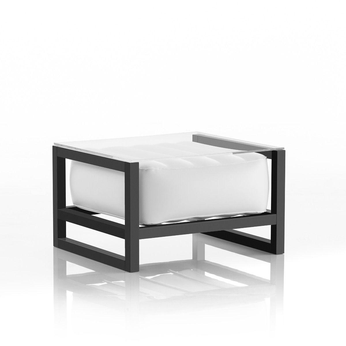 Table basse pvc blanche cadre en aluminium