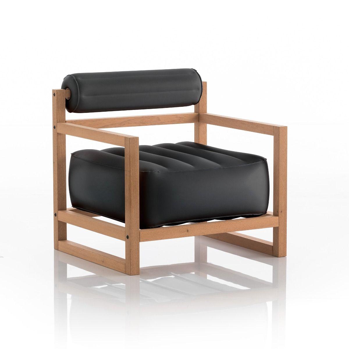 Fauteuil noir opaque cadre bois