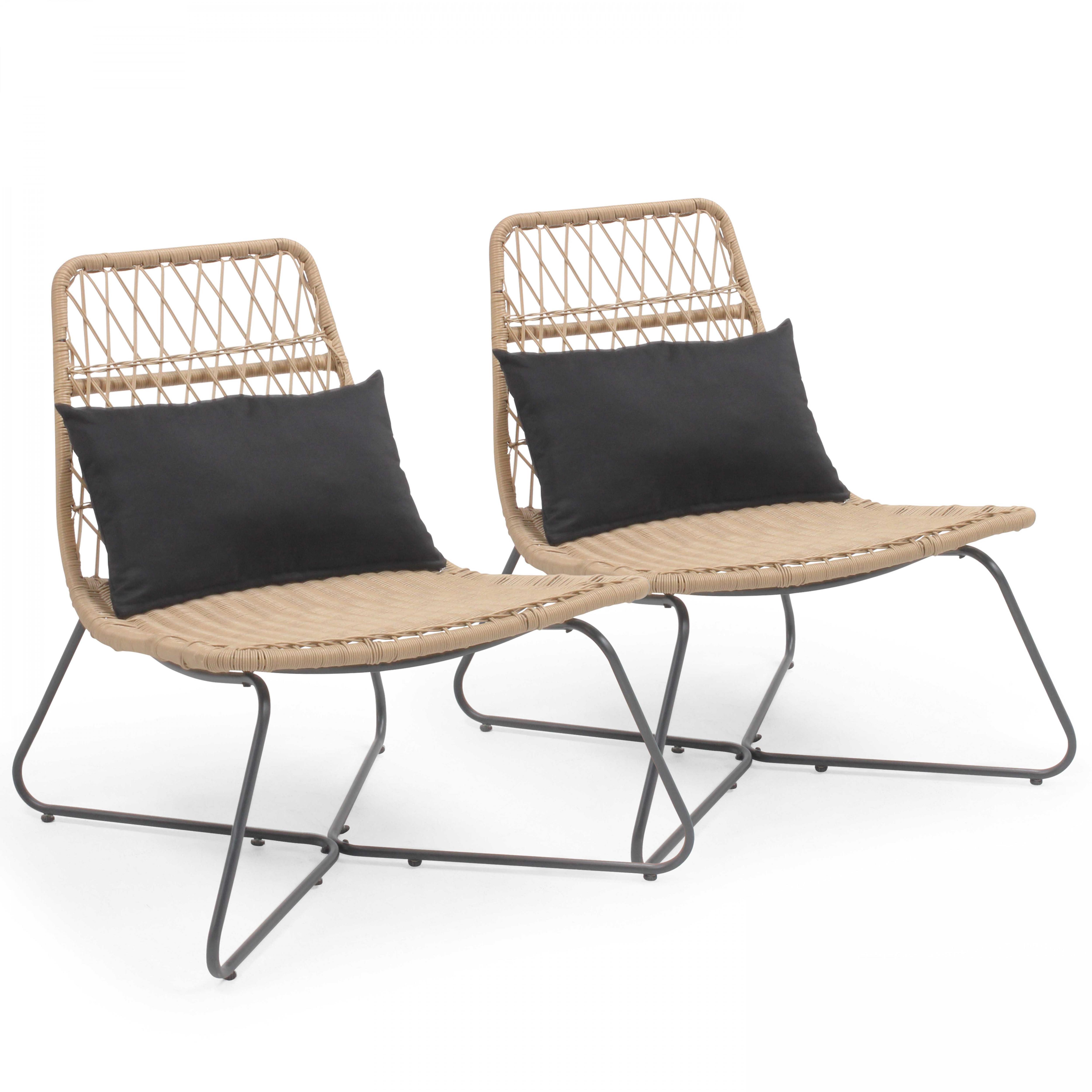 Lot de 2 fauteuils en résine imitation rotin naturel