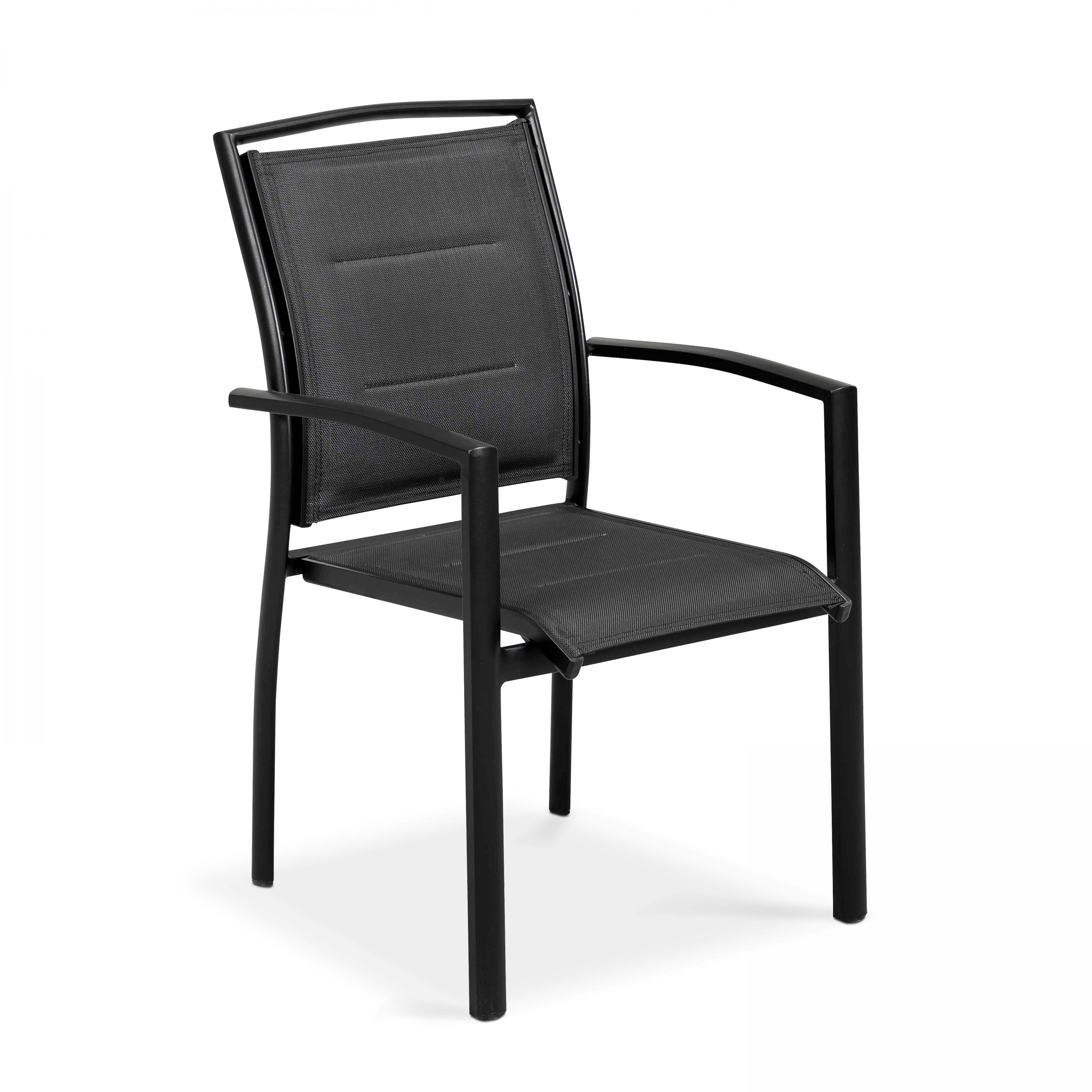 Lot de 2 fauteuils noir en aluminium et textilène noir