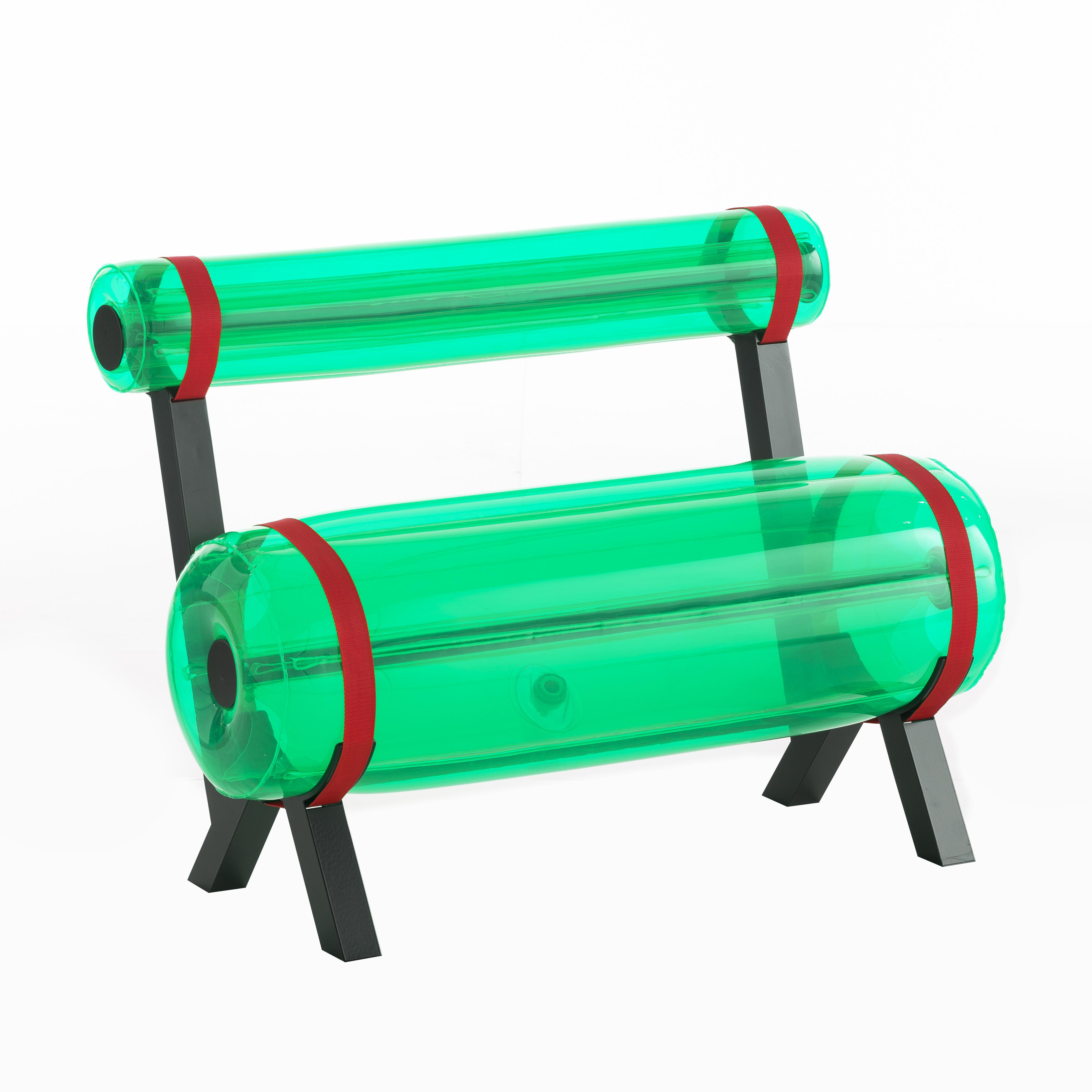 Banc vert pieds en aluminium L100