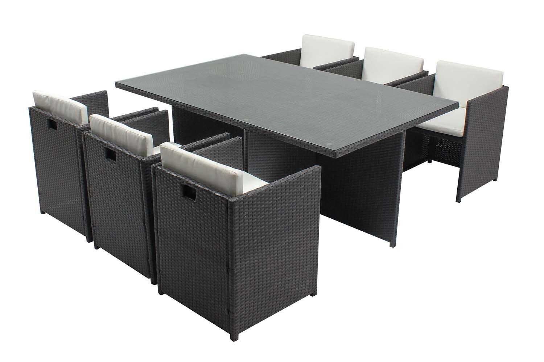 Table et chaises 6 places encastrables en résine gris/blanc