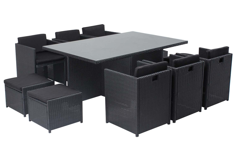 Table et chaises 10 places encastrables en résine noir/noir