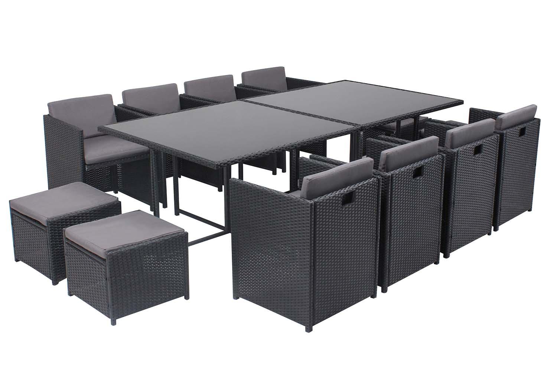 Table et chaises 12 places encastrables en résine noir/gris