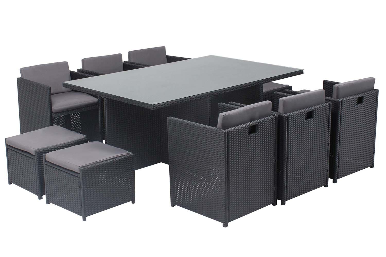 Table et chaises 10 places encastrables en résine noir/gris