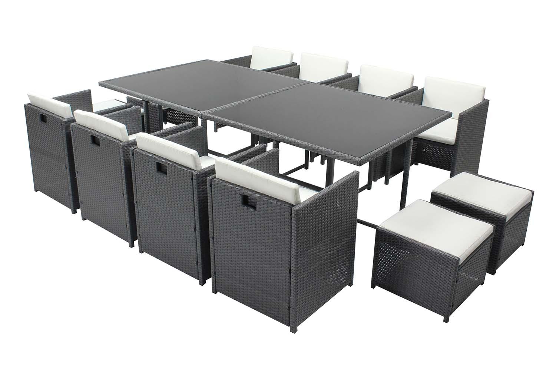 Table et chaises 12 places encastrables résine gris/blanc