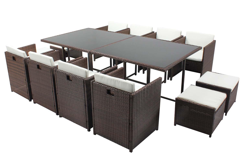 Table et chaises 12 places encastrables résine marron/blanc