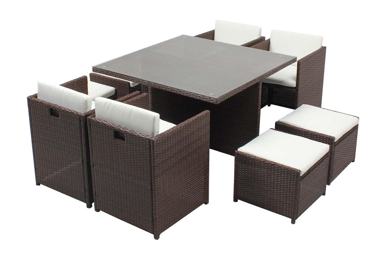 Table et chaises 8 places encastrables résine marron/blanc