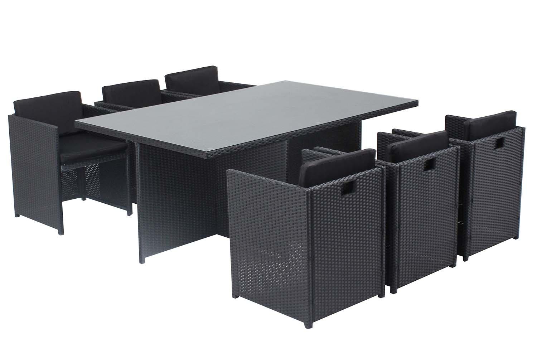 Table et chaises 6 places encastrables en résine noir/noir