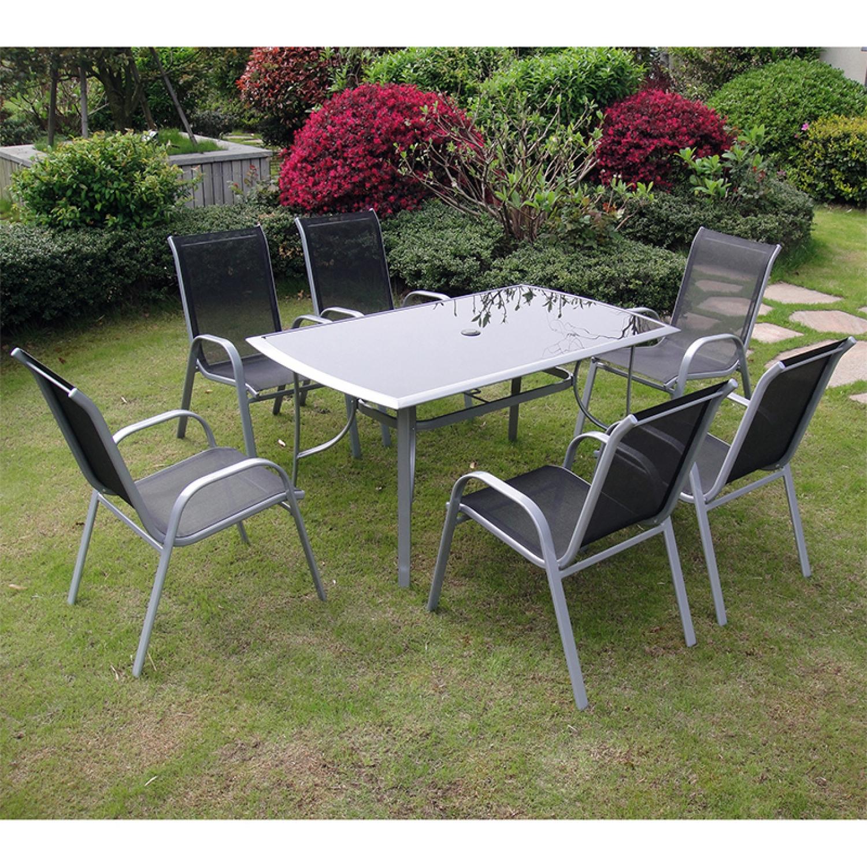 Table de jardin et 6 chaises en aluminium et acier gris