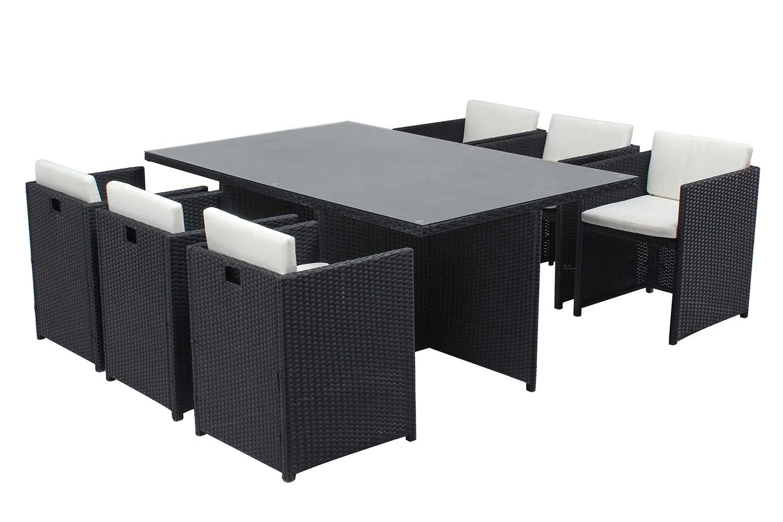 Table et chaises 6 places encastrables en résine noir/blanc