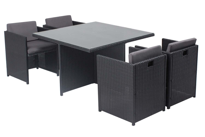 Table et chaises 4 places encastrables en résine noir/gris